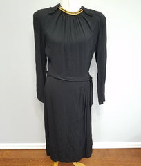 Vintage 1940s Black Rayon Dress with Attached Gold Bead Necklace