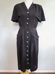 Vintage 1940s Black Rayon Dress with Capelet