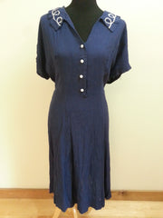 Vintage 1940s Blue Button Down Dress (as-is) Large Size