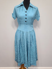 Vintage 1940s Blue Dress with Flower Buttons