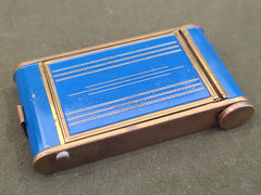 Vintage 1940s Blue Makeup Compact and Lipstick Holder