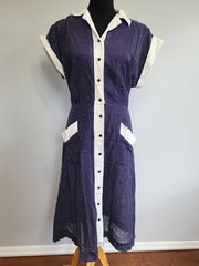 Vintage 1940s Blue Polka Dot Dress with Ties Plus Size Princess Peggy
