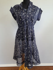 Vintage 1940s Blue See-Through Dress with Flower Design