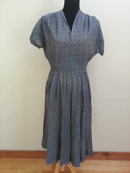 Vintage 1940s Blue / Slate Gray Polka Dot Dress