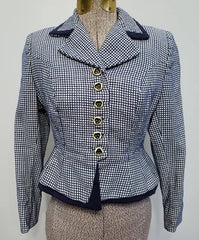 "Blue and White Peplum Blazer <br> (B-32"" W-26"")"