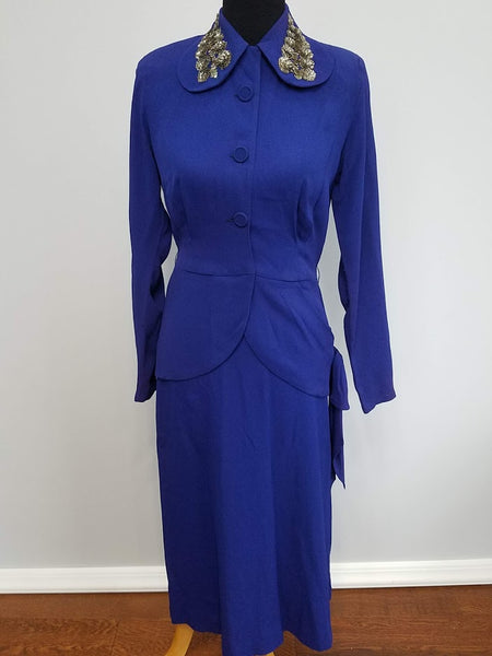 Vintage 1940s Bright Blue / Purple Rayon Skirt Suit (as-is)