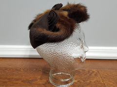 Vintage 1940s Brown Hat with Mink Fur