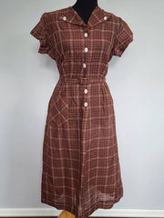 Vintage 1940s Brown Plaid Dress