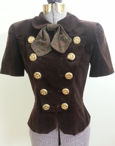Vintage 1940s Brown Velvet Blouse Shirt