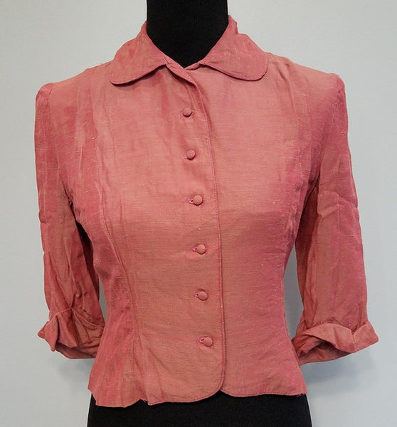 Vintage 1940s Button Down Pink Blouse  (B-36 W-28)