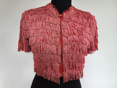 Vintage 1940s Flapper Red Fringe Short Sleeve Jacket