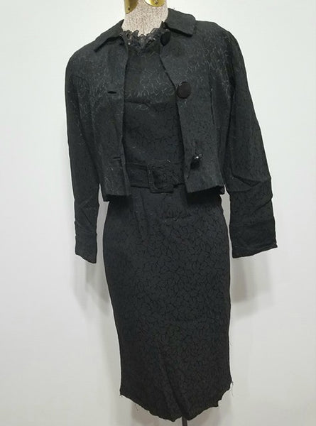 Vintage 1940s German 3-Piece Outfit: Black Dress, Jacket and Belt