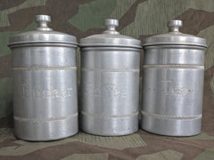 Vintage 1940s German Aluminum Container Set: Coffee, Tee, Sugar