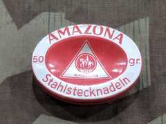 Vintage 1940s German Amazona Stahlstecknadeln Sewing Needle Tin
