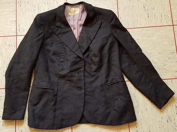 Vintage 1940s German Black Jacket - E.M. Schubert Chemnitz Label
