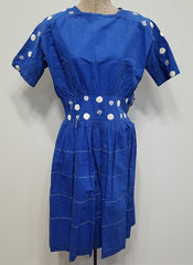 Vintage 1940s German Blue Dress with White Polka Dots (As-Is)