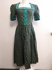 Vintage 1940s German Green Dirndl Dress Heart Print