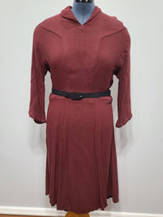 Vintage 1940s German Maroon Long Sleeve Dress