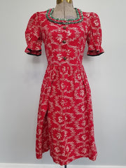 Vintage 1940s German Red Print Dirndl Dress Traditional Clothing