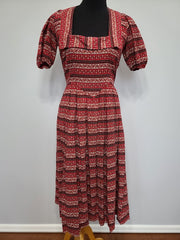 Vintage 1940s German Red Print Dirndl Dress