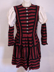 Vintage 1940s German Red and Black Striped Dirndl Dress Tracht