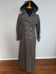 Vintage 1940s Gray Winter Coat with Hood