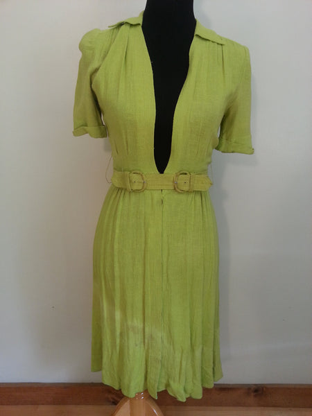 Vintage 1940s Green Dress with Belt Heartbeat by Pat Hartly