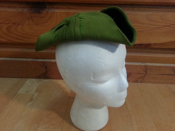 Vintage 1940s Green Triangle Hat WWII Akridge