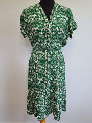 Vintage 1940s Green and White Print Dress Cold Rayon