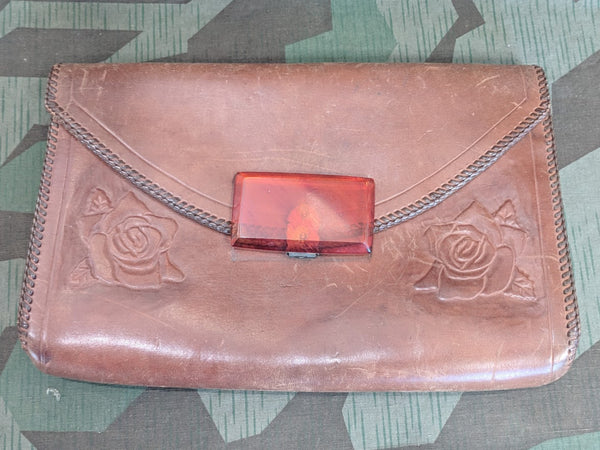 Vintage 1940s Leather Purse with Lucite Clasp and Rose Designs