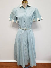Vintage 1940s Light Blue Button Down Dress w Belt