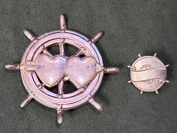Vintage 1940s NOS Engravable Heart Ships Wheel Pins (Set of 2)