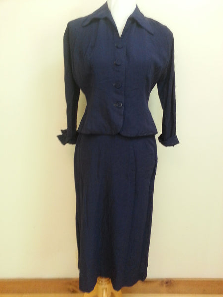 Vintage 1940s Navy Blue Skirt Suit Linen/Cotton