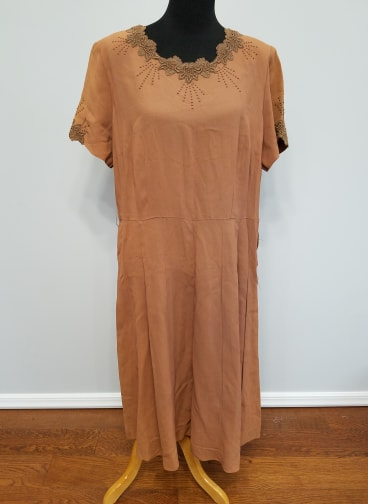 Vintage 1940s Orange Rayon Dress (as-is) Volup Plus Size