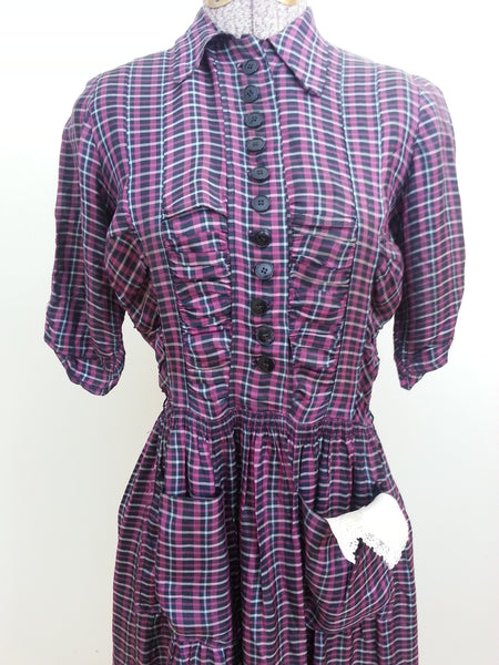 Vintage 1940s Plaid German Dress
