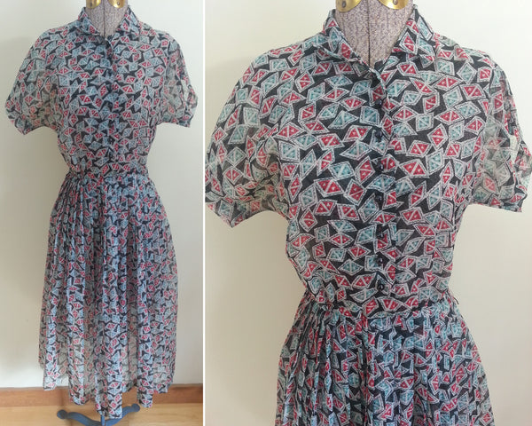 Vintage 1940s Print Button-Down Dress (Henry Rosenfeld)