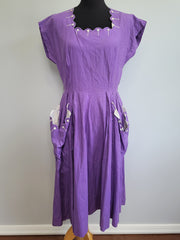 Vintage 1940s Purple Dress with Big Pockets