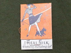Vintage 1940s Real Silk Hosiery Mending Kit for Stockings