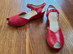 Vintage 1940s Red Peep-Toe Sandals Shoes