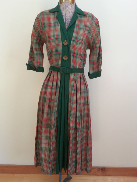 Vintage 1940s Red and Green Plaid Dress - Rae Mar Label