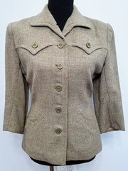 Vintage 1940s Tan/Gray Blazer with 3/4 Sleeves