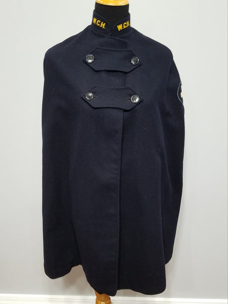 Vintage 1940s WWII Navy Blue Nurse's Cape Uniform W.C.H.