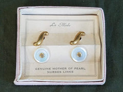 Vintage 1940s WWII Nurse Cufflinks in Box Cuff Links