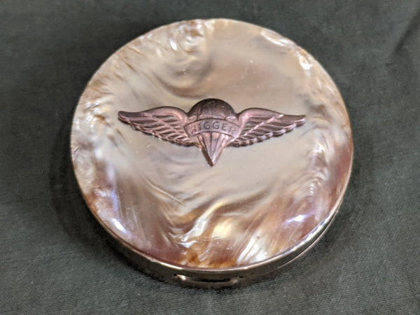 Vintage 1940s WWII Parachute Rigger Celluloid Compact - New Old Stock