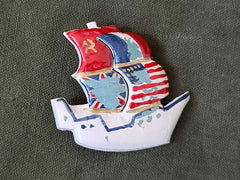 Vintage 1940s WWII Sailboat Pin with Allied Flags