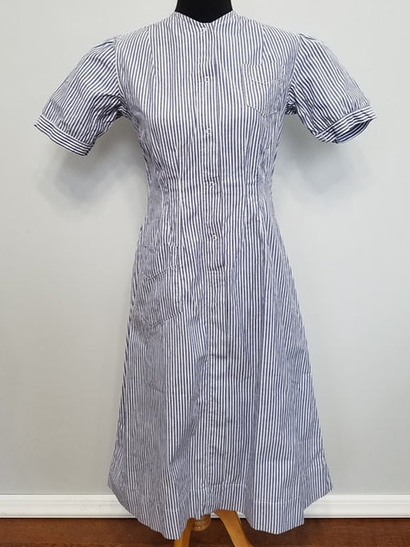 Vintage 1940s WWII Striped Nurse Uniform Dress
