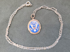 Vintage 1940s WWII US Army Enamel Sweetheart Necklace