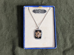 Vintage 1940s WWII US Army Sweetheart Necklace in Box Sterling