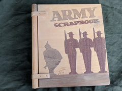 Vintage 1940s WWII Wooden US Army Scrapbook