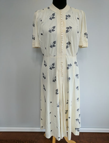 Vintage 1940s White Button Down Dress with Blue Embroidery